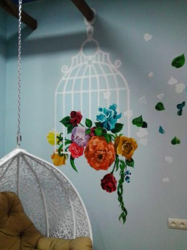 роспись стены цветами